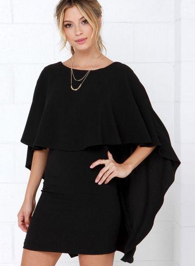 Fashion Backless Cloak Bodycon Dress - OASAP.com
