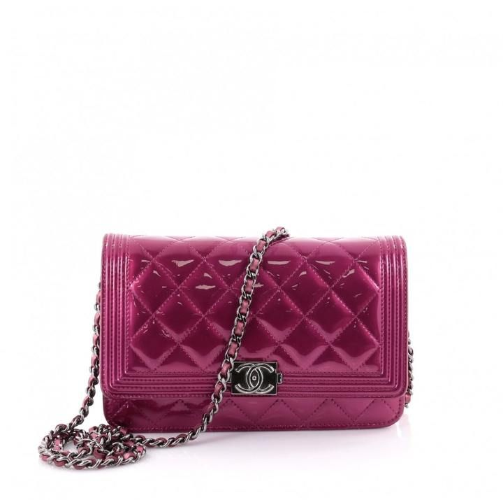 £1,300 Bright Pink Chanel Boy Wallet on Chain Quilted Patent   #Ad