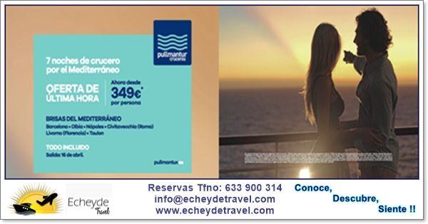 Brisas del Mediterraneo,salida 16 de abril desde Barcelona,buque #Sovereign de #Pullmantur desde 349€+tasas en cabina interior doble,consulta condiciones  Reservas 633 900 314 info@echeydetravel.com www.echeydetravel.com