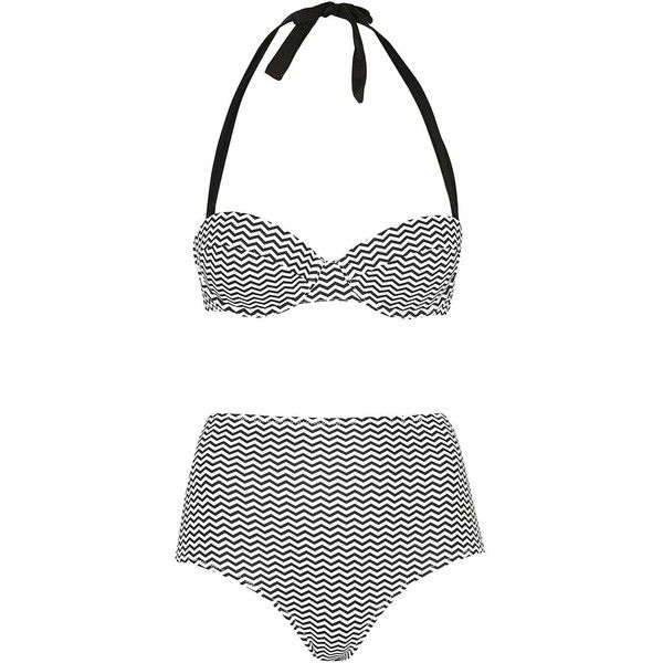 Zig-Zag Print Bikini Top and Bottoms - Topshop (925 MXN) ❤ liked on Polyvore featuring topshop