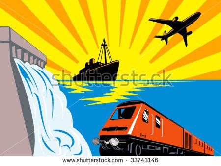Diesel train with ship, plane and dam #transportation #retro #illustration