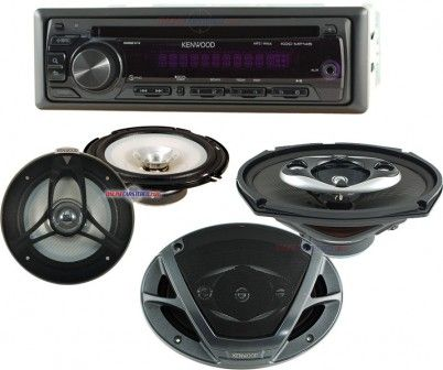 Kenwood Car audio Stereo systems Upgrade Package with KDC-MP145 MP3-CD Receiver KFC-1651S 6-1/2inch Car Speakers & KFC-6993PS 6inch x 9inch Car Speakers