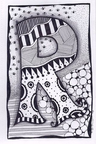 Zentangle Letter R Zebra Letters name bunting by ForeverTangles, £3.50