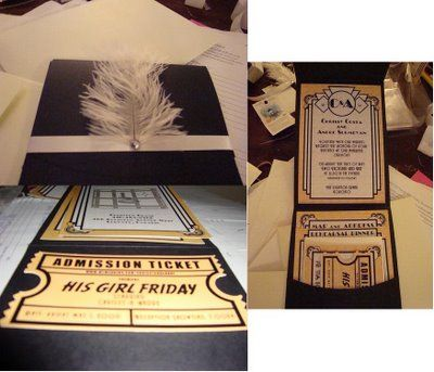 We Were Inspired By Art Deco Invitations Found Online. Everything Was  Printed On Card Stock