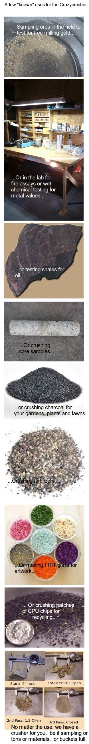 "The Crazycrusher has been used by miners, labs, geologists, artisans, oil and gas industries, assays, composition testing, garden shops, etc.   ""Built for the Pro, Priced for the Hobbyist"" (tm)"