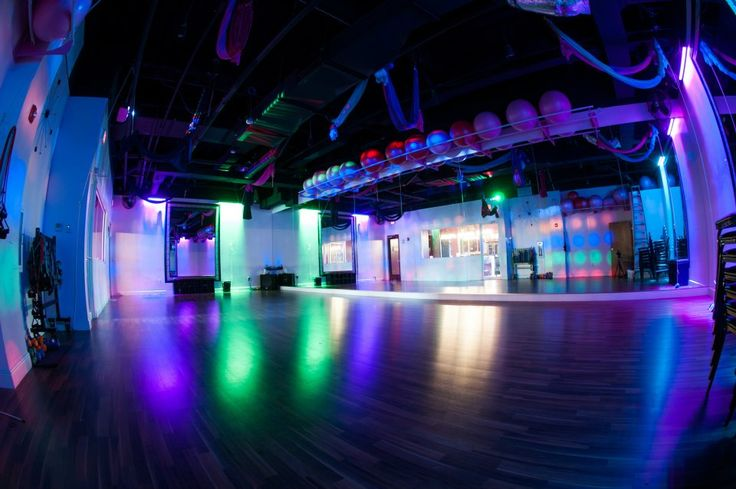 This cardio room will make you want to dance! // i love boutique gyms (this one has arial yoga, pole classes, zumba, bachelorette parties, shopping, etc). would be perfect to open in a college town ... like Iowa City.
