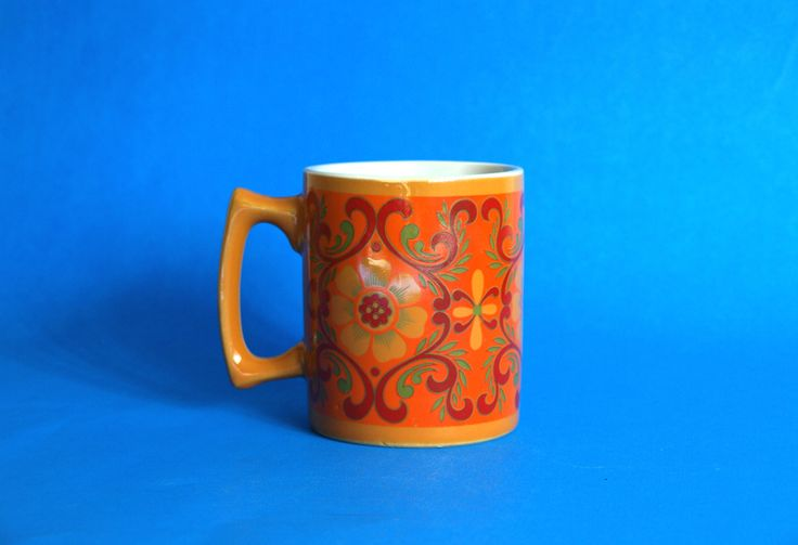 Retro Flower Power Psychedelic Mug - Vintage Daisy Sunflower Poppy Tapestry Orange Coffee Cup - Made in Japan by FunkyKoala on Etsy