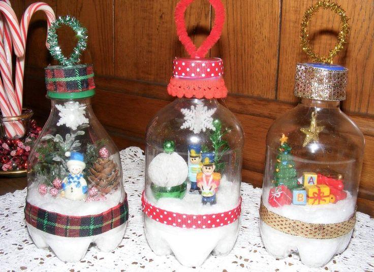 A mom grabs soda bottles from the bin for this brilliant for Christmas decor using plastic bottles