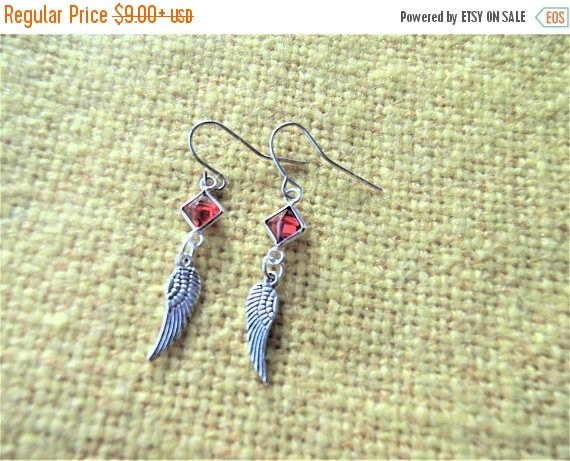 SALE Small Silver Angel Wing Earrings, Red Crystals, Angel Wing Jewelry, Faith Jewelry, Angel Jewelry, Sterling Silver, Red Zirconia Jewelry by TerriJeansAdornments on Etsy