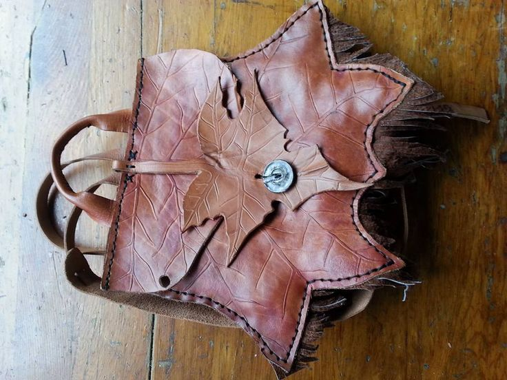 Rustic Tan Maple Leaf Backpack by Adele, handtooled by Nicky
