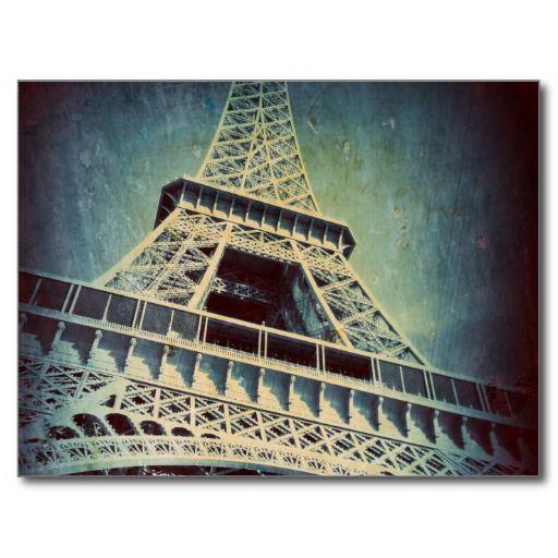Eiffel Tower Post Card, Blue Metal