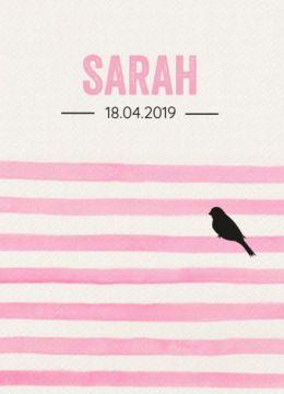 Geboortekaartje met roze strepen en vogeltjes