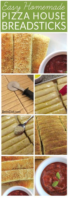 Homemade Pizza House Breadsticks with cheesy, garlic & herb seasoning and easy dipping pizza sauce. Family pizza night just got better!