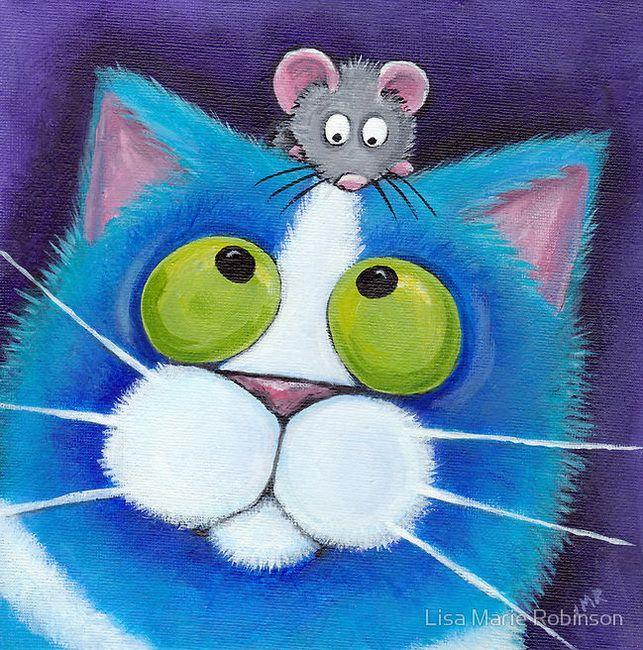 Дня, открытка мышка и кошка