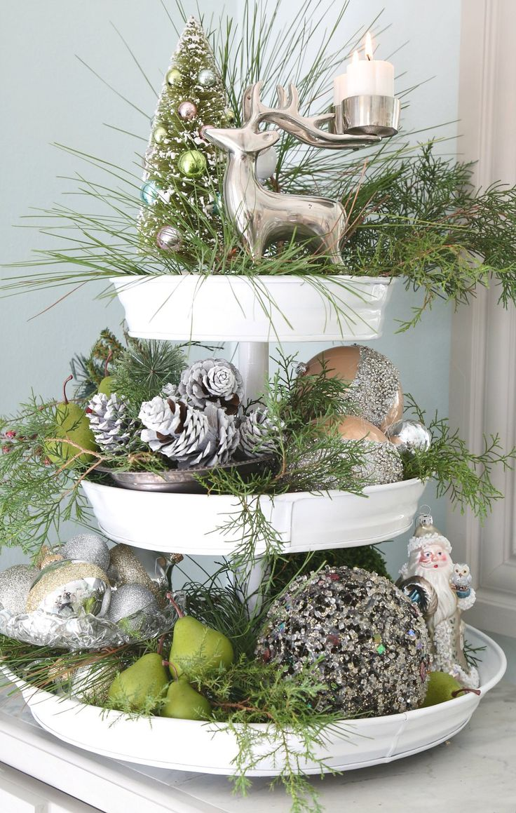 Christmas Tiered Cake Stand Decorated. Spray painted with Testors White Wedding. #ad