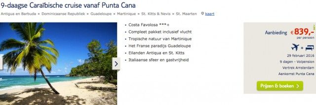 Ahoi Piraten,  die Karibik wartet auf euch. Wer Lust auf eine entspannte Karibik-Kreuzfahrt zu besten Reisezeit hat, sollte jetzt schnell zuschlagen.  Bei TUI.nl könnt ihr aktuell eine 9-tägige Kreuzfahrt mit der Costa Favolosa schon für unglaubliche günstige 839€ pro Person buchen. Neben der 7 Übernachtungen in einer Innenkabine sind auch die Hin- und Rückflüge ab…