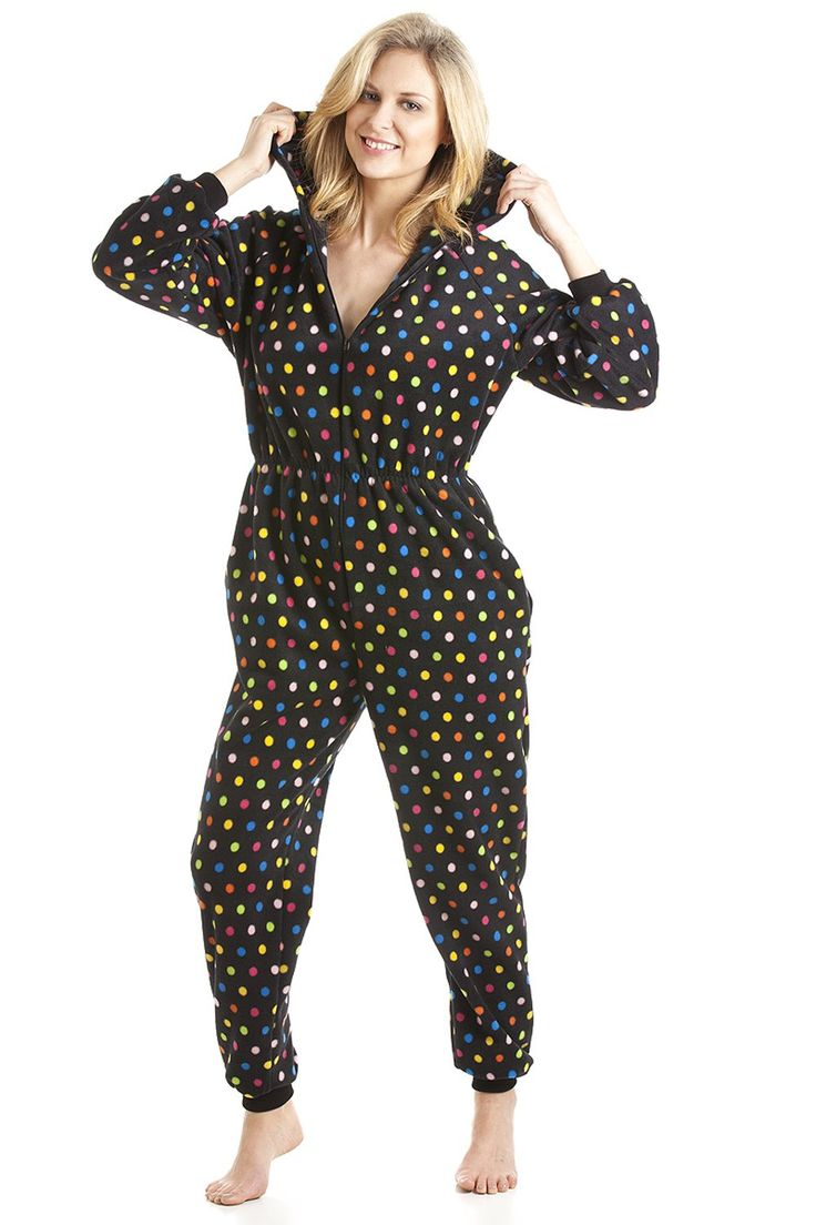 Multi-Coloured Spot Print Hooded All In One Pyjama Onesie.  Womens Multi-Coloured Spot Print Zip Up And Hooded All In One Onesie Made From Supersoft Fleece Material That Is Sure To Keep You Warm And Cosy 100% Polyester Machine Washable At 40° Express UK Delivery Available And FREE UK Returns