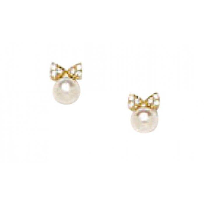Baby And Children S Earrings 14k Gold Cultured Pearl With Cz Encrusted Bows Safety