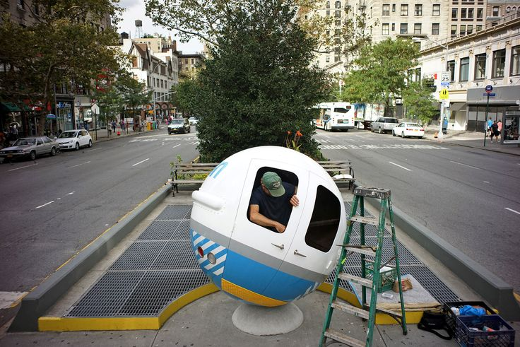 Lars-Erik Fisk and his Con Ed Ball, part of 'Broadway Morey Boogie,' over 100 Blocks of Public Art - NYTimes.com