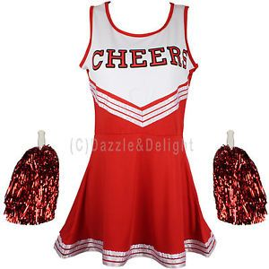 CHEERLEADER-FANCY-DRESS-OUTFIT-UNIFORM-HIGH-SCHOOL-MUSICAL-COSTUME-WITH-POM-POMS