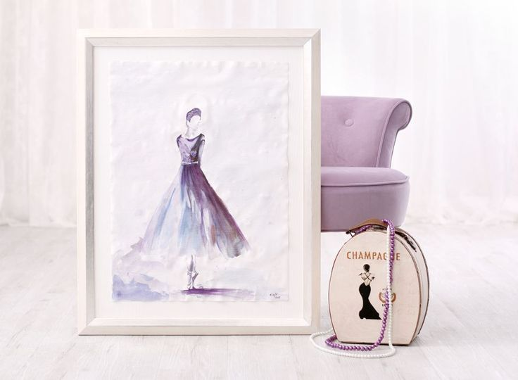 Ballerina paining on canvas without stretching on a hand made mat finished with a white-silver frame from tuscany