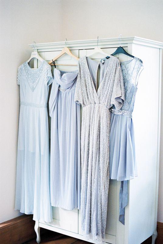 Mismatched Light Blue Bridesmaids | photography by http://www.taylorbarnesphotography.co.uk/
