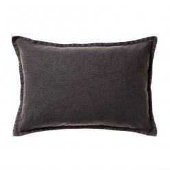 MASTER BED - Adairs Home Republic Vintage Wash Linen Cushion Charcoal, cushion, cushion cover