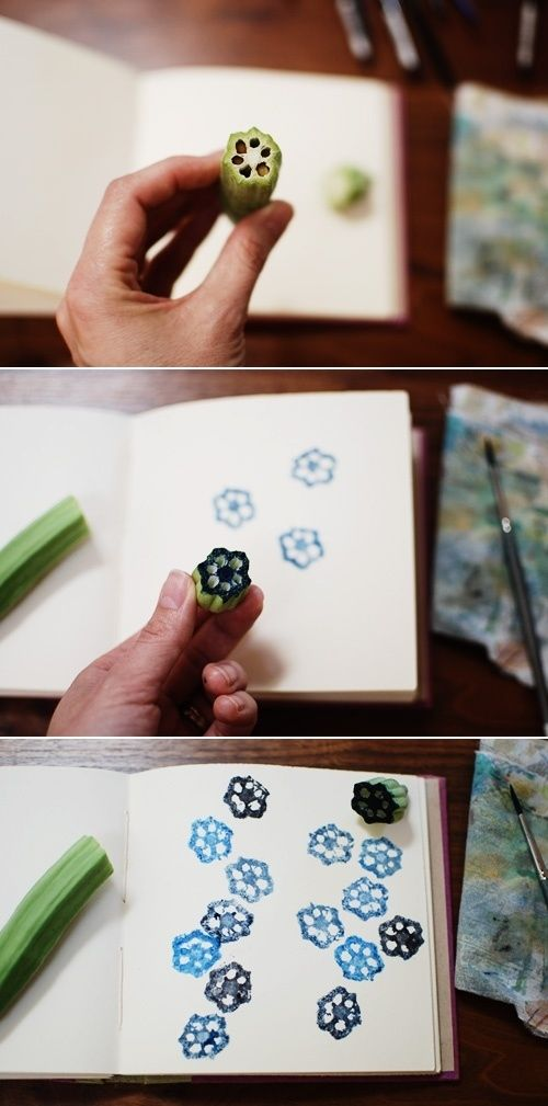 A sliced okra becomes a flower stamp. | The 52 Easiest And Quickest DIY Projects Of All Time