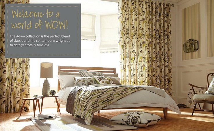 A stunning colection of made to measure curtains and blinds, with coordinating bedding, wallpapers, rugs, throw cushions and more.