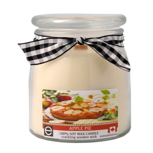 New Apple Pie Scent 100% Organic Soy Wax Country Series 17 oz 60 Hour Candle with Crackling Wooden Wick