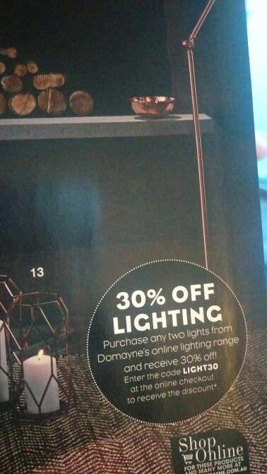 30% off lights offer domayne