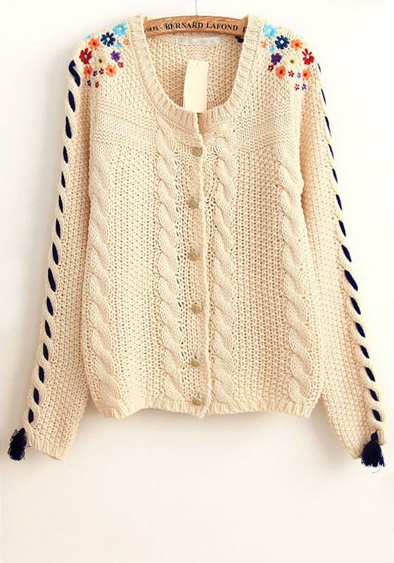 White Patchwork Embroidery Flowers Tassel Acrylic Cardigan