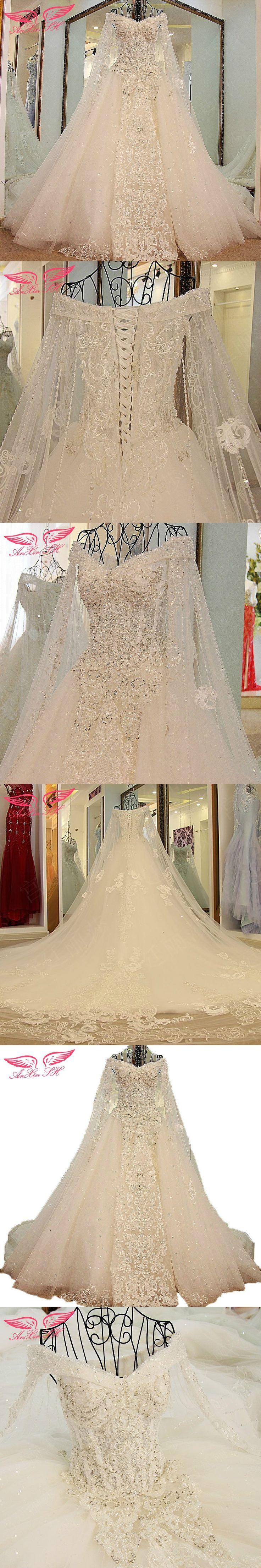 AnXin SH Korean bride white lace wedding dress lace flowers Bride lace trailing wedding dress xj45880