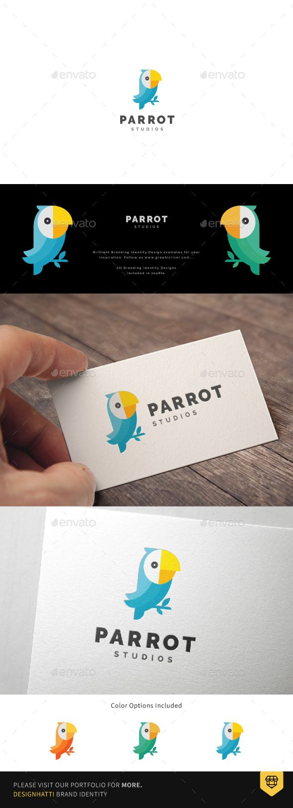 Parrot Studio Logo by designhatti Parrot Studio LogoLogo template suitable for Graphic works, Design studios, App or Software, Online activities, Personal logo, etc
