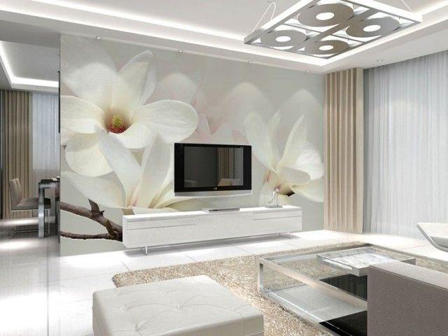 Venta al por mayor vinilo straw lines 3d mural de la pared mangnolia blanco murales de flores para sala de estar del fondo del   FOTOMURALES