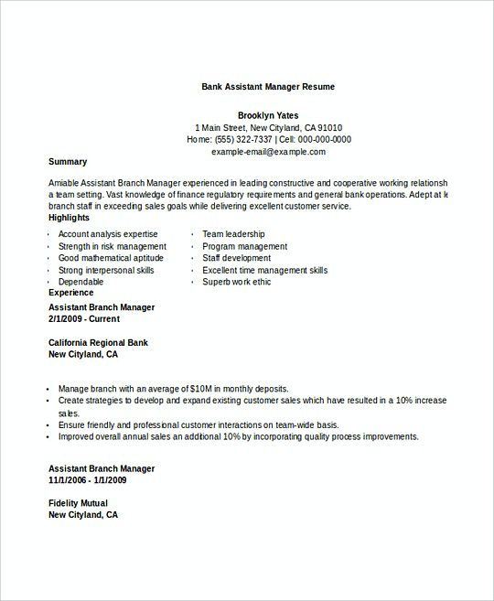 Bank Assistant Manager resume template , Professional Manager Resume