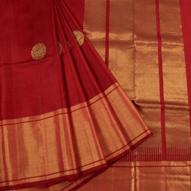 Handwoven Uppada Silk Saree With Deer & Hamsa Motifs & Tissue Zari Border 10023141 - AVISHYA.COM