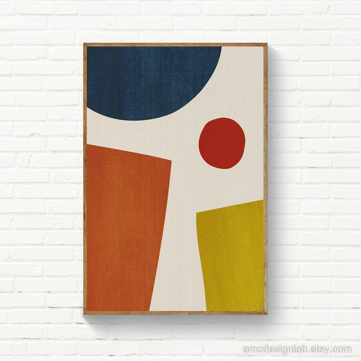 Abstract Mid Century Print Minimalist Modern Wall Art Etsy In 2020 Geometric Painting Red Abstract Painting Geometric Art