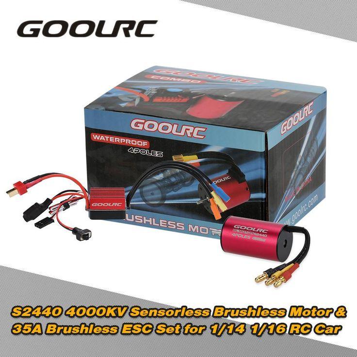 GoolRC Hot Sale S2440 4000KV Sensorless Brushless Motor and 35A Brushless ESC Combo Set for 1/14 1/16 RC Car Truck