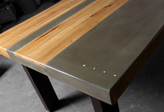 Cemento legno & acciaio cucina tavolo da pranzo