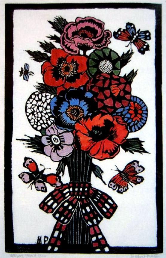 Plaid Bow Hand-coloured woodblock print, 45 x 28 cm by Margaret Rose (MacPherson) Preston (1875-1963) Australia