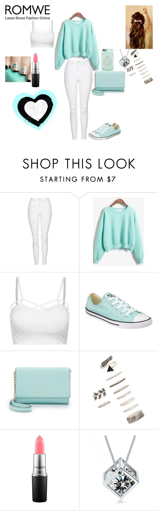 """""""The Popular Girl in School"""" by princessboogs ❤ liked on Polyvore featuring Topshop, Converse, Kate Spade, Forever 21 and MAC Cosmetics"""