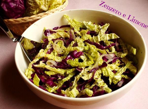 Questa insalata è un gustoso contorno a base di cavolo rosso e verza insaporito da anelli di cipolla saltati al tegame. Una ricetta semplicissima e veloce