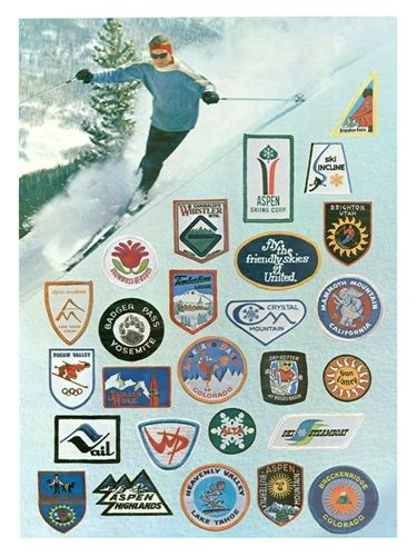 Vintage Ski Patches Poster 18 x 24