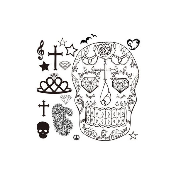 Skull Fake Tattoos (24 NZD) ❤ liked on Polyvore featuring accessories, body art, fillers, tattoos, drawings, backgrounds, other and multi