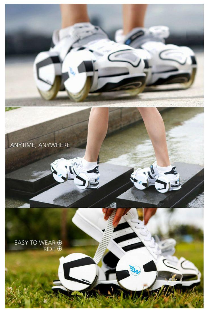 Mit diesen Rollen an deinen Füßen, bist du unterwegs als wären Flügel an deinen Füßen. Abgesehen von Stöckelschuhen, kannst du fast alle Schuhe dazu tragen. Einfach reinschlüpfen, zuschnallen und die Rollen mit einem Klick am Schalter runterfahren. Mit demselben Schalter kann man die Rollen wieder nach oben und zurück in den Laufmodus bewegen. Mit diesen anschnallbaren Schuhen könnt Ihr Laufen und fahren. #skates #rollschuhe #walkwing #schuhe #gadget