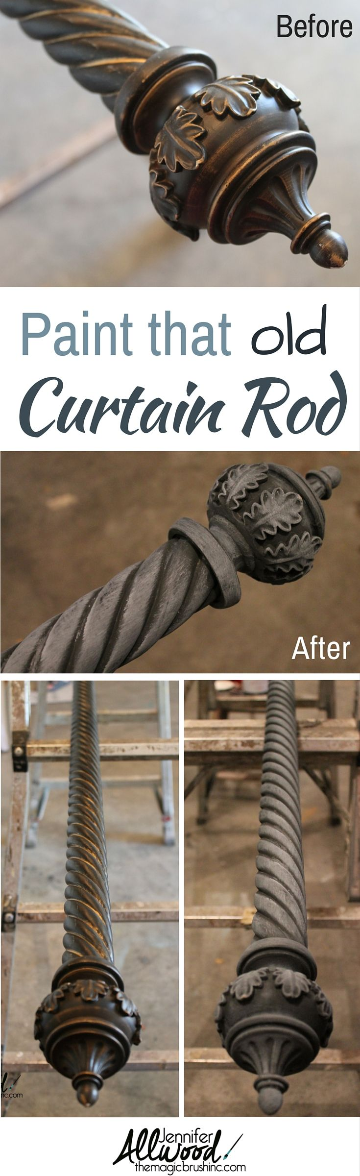 a painted curtain rod an easy diy update for window treatements painted curtainsdiy