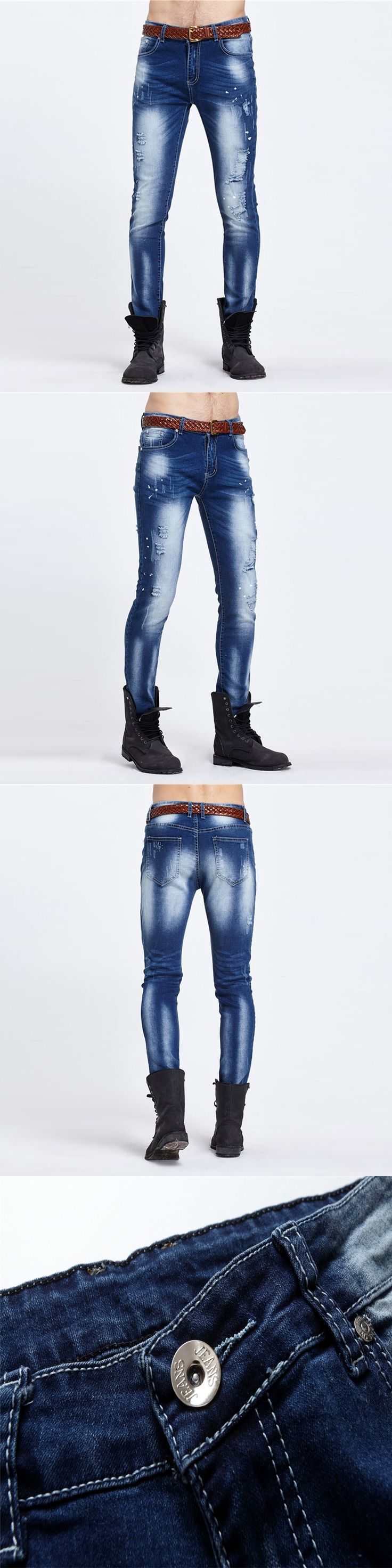 Night Club Biker Jeans Men Denim Blue Ripped Jeans Trousers Cotton Mens Brand Skinny Jeans Pants Stretch Motorcycle Jeans Homme