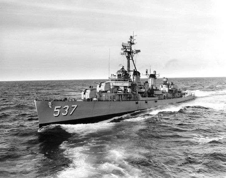 USS The Sullivans (DD-537) photographed while passing astern of USS Grand Canyon (AD-28) on October 29, 1962. Named in honour of the 5 Sullivan brothers all lost together in sinking of USS Juneau (CL-52),on November 13,1942 Naval Battle of Guadalcanal.