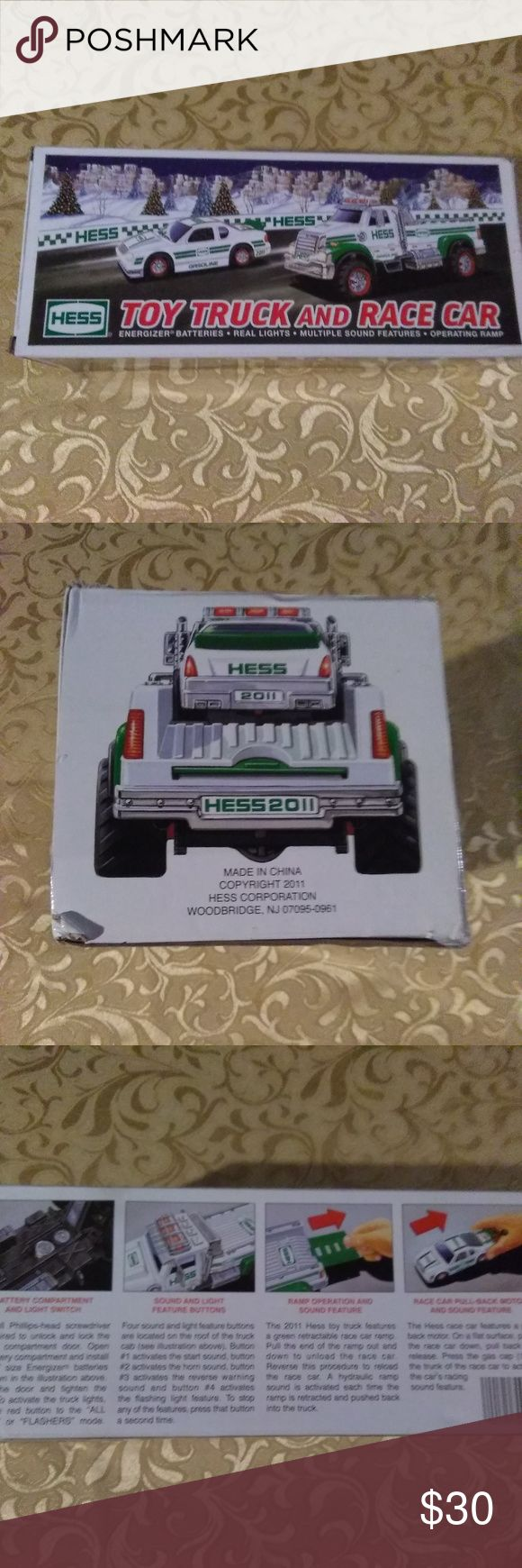 Hess Toy Truck & Race Car (2011) NIB A never used Hess Christmas collectible.There is no damage to this item. Box was only opened to picture the item.Everything is original including pull tabs, and original batteries.A pack of Batteries is included with this item,and the original paper work. It's a Unisex item.  Color:Green/White Material: Plastic,Paint   Make an offer on this or any item you like. Bundle and save even more. Bundle deals change.   Thank you for shopping kingzmarket631 Hess…